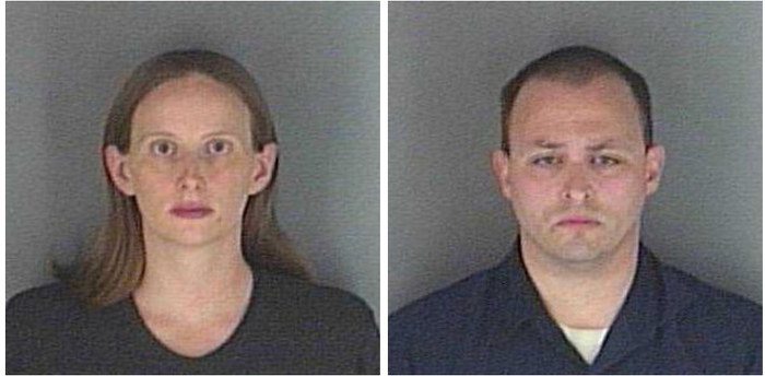 Allison and Jonathan Schumm are seen in mugshots provided by the Shawnee County Sheriff's Office.