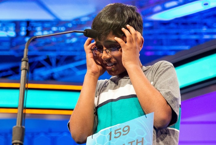 "Srinath Mahankali, 11, onstage before correctly spelling ""sphenogram"" during the semifinals of the 2015 Scripps National Spelling Bee."