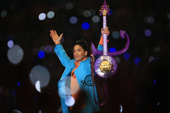 Prince performs during the 'Pepsi Halftime Show' at Super Bowl XLI in Miami Gardens, Florida.