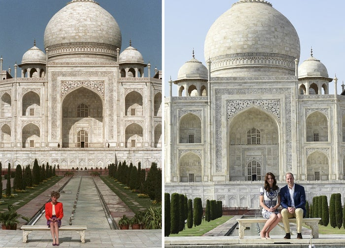 This two-picture combo shows a February 11th, 1992 photo (left) of Princess Diana sitting in front of the Taj Mahal, and her son Prince William sitting with his wife Kate (right), at the same spot in Agra, India. The Duke and Duchess of Cambridge invoked nostalgia Saturday as they sat and smiled for photos on the same marble bench in front of the Taj Mahal where Prince William's late mother, Princess Diana, had posed alone for a memorable 1992 photo.