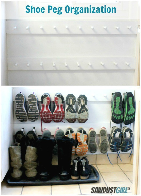Save Floorspace By Hanging Shoes On A Peg Coat Rack.