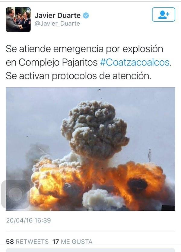 Esto, se suma al desastre que comenzó el gobernador del estado, Javier Duarte, al tuitear una fotografía que correspondía, más bien, a una explosión en Libia.
