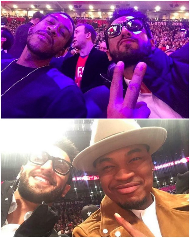 Casually chill courtside with Ne-Yo and Ludacris at the NBA All Stars.