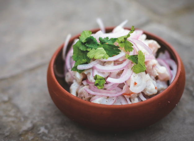 6. This basic ceviche (raw seafood marinated in citrus juice) in Peru: