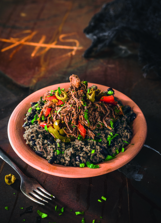 9. This ropa vieja (pulled beef with rice and black beans) in Cuba: