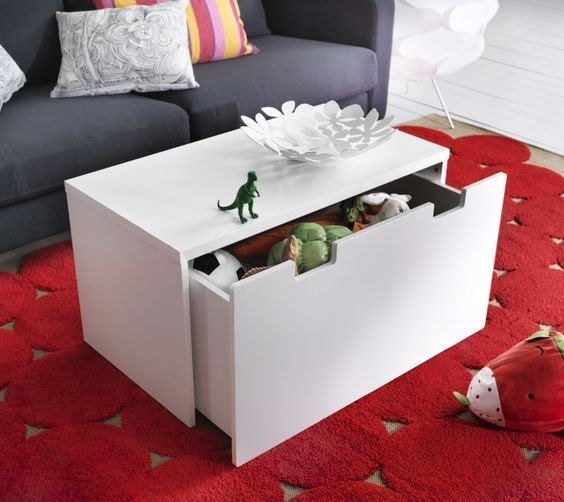 Disguise a toy chest (or your shoe storage) as a coffee table.