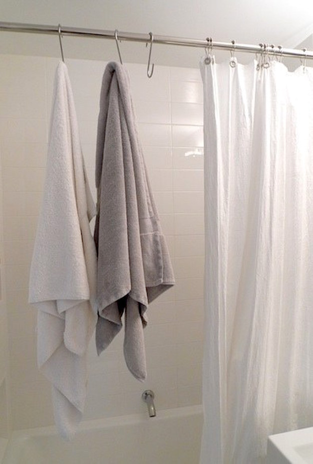 S-hooks also work as an extra towel rack when you don't have one.
