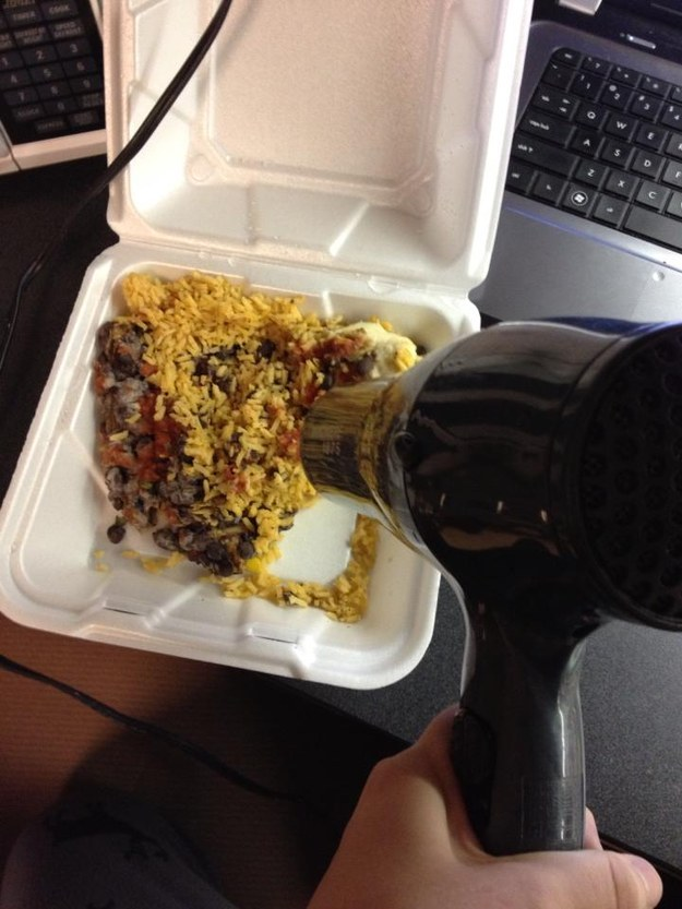 So when I saw this photo of an alleged college student heating up their leftovers with a hair dryer on Reddit, I thought it would be interesting to see if it actually worked.