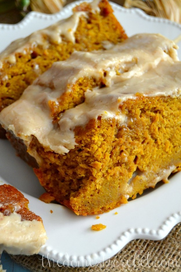 Pumpkin Bread With Brown Butter Maple Icing