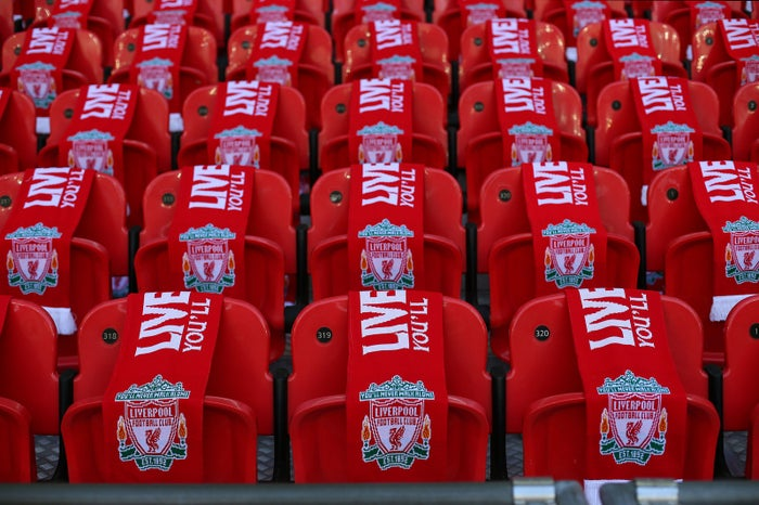 Liverpool scarves cover 96 seats in memory of the victims of the Hillsborough disaster during a 2016 FA Cup semi-final match between Everton and Liverpool at Wembley.