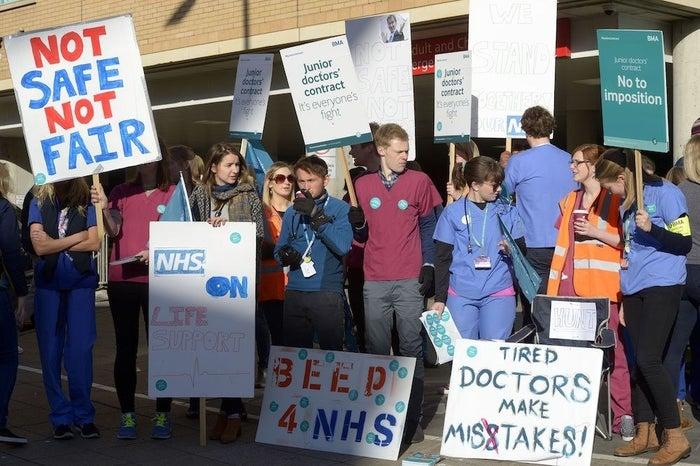 A picket line outside Bristol Royal Infirmary.