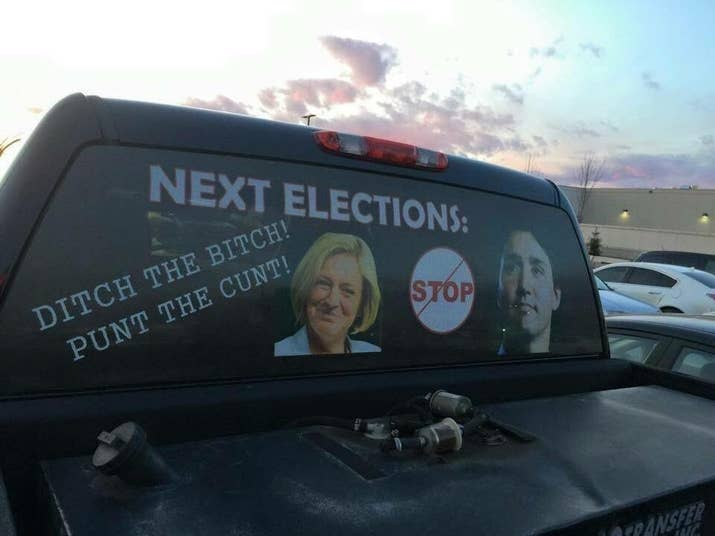 Heres The Insulting Truck Decal About Notley And Trudeau Thats - Rear window decals for trucks canada