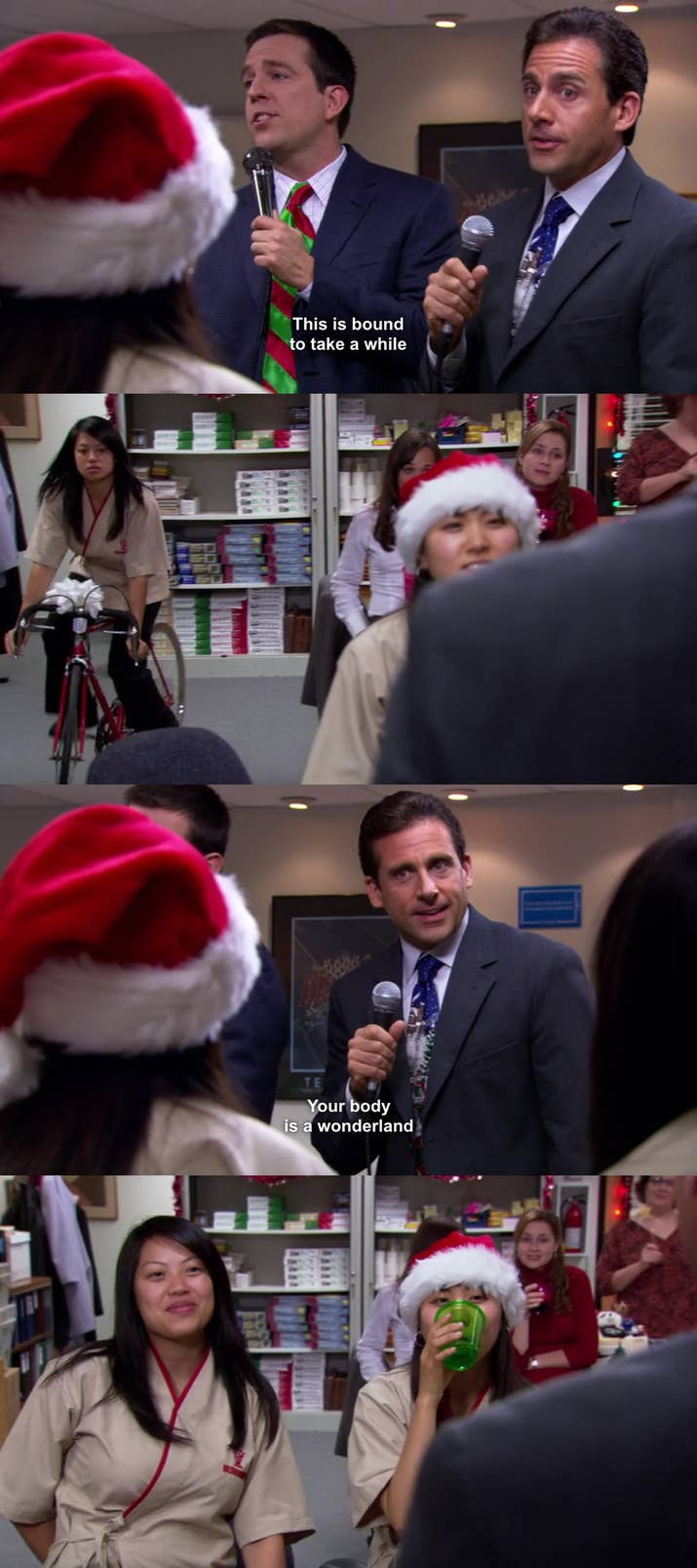 """The Episode: """"A Benihana Christmas"""" (Season 3, Episode 10)Why It Hurts To Watch: The whole situation is awkward enough, but the moment of panic of Michael's face just tops the whole thing off. And when he marks her later? Oof. Plus, they're singing """"Your Body Is a Wonderland,"""" which cranks the embarrassment factor to 11."""