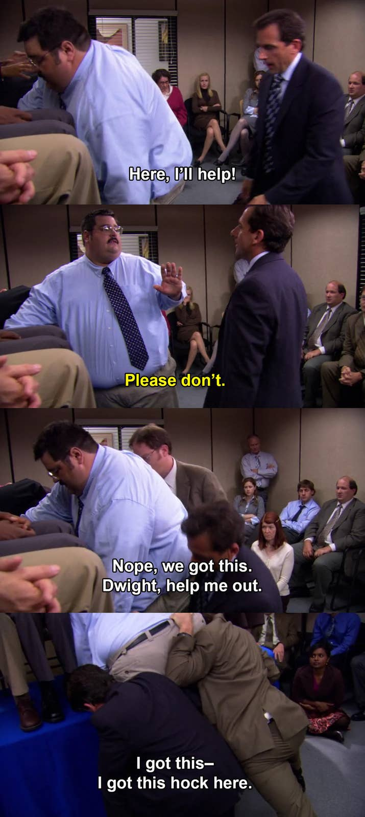 """The Episode: """"The Merger"""" (Season 3, Episode 8)Why It Hurts To Watch: It's clear from the moment the Stamford employees show up that Tony doesn't want any part of Michael's crap, so when Michael forces him up on the table, you can just feel Tony getting ready to quit."""