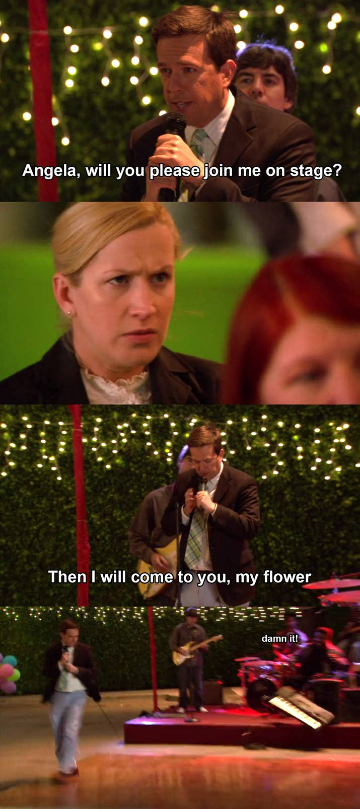 """The Episode: """"Goodbye, Toby"""" (Season 4, Episode 18/19)Why It Hurts To Watch: Andy's clumsy intro is awkward enough, but then Angela replies with a defeated """"OK"""" that Andy makes her repeat into the microphone. As if all of that wasn't painful enough, we see just how sad Jim and Pam are that their moment was hijacked."""