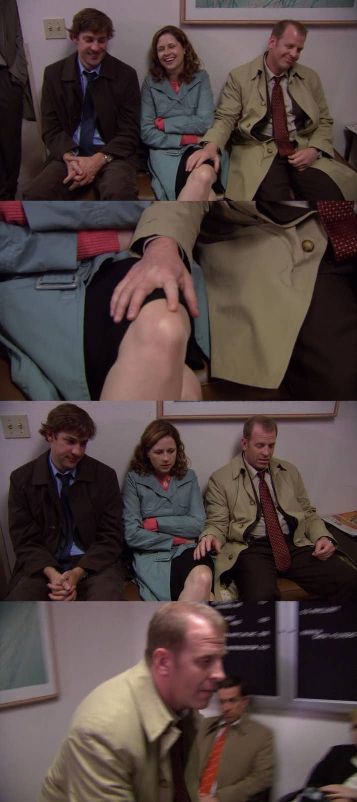 """The Episode: """"Night Out"""" (Season 4, Episode 11)Why It Hurts To Watch: Toby's obsession with Pam is always a bit sad and awkward, but everything here — the creepy finger caress, the announcement about Costa Rica, and the run out the door and over the fence — is the worst thing he's ever done."""