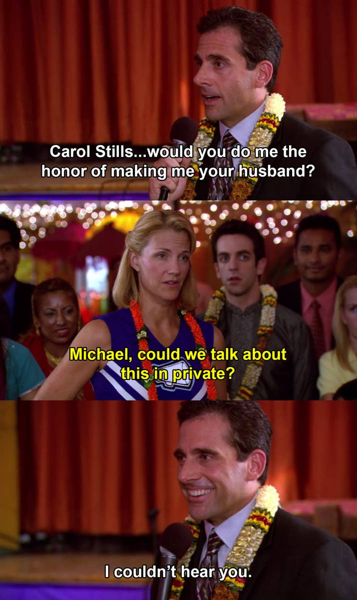 """The Episode: """"Diwali"""" (Season 3, Episode 6)Why It Hurts To Watch: You know that Michael's heart is in the right place, but it's really just his desperation speaking. Oh, and the fact that Carol is in a cheerleader outfit because Michael told her that Diwali is """"like Indian Halloween"""" makes it all even worse."""