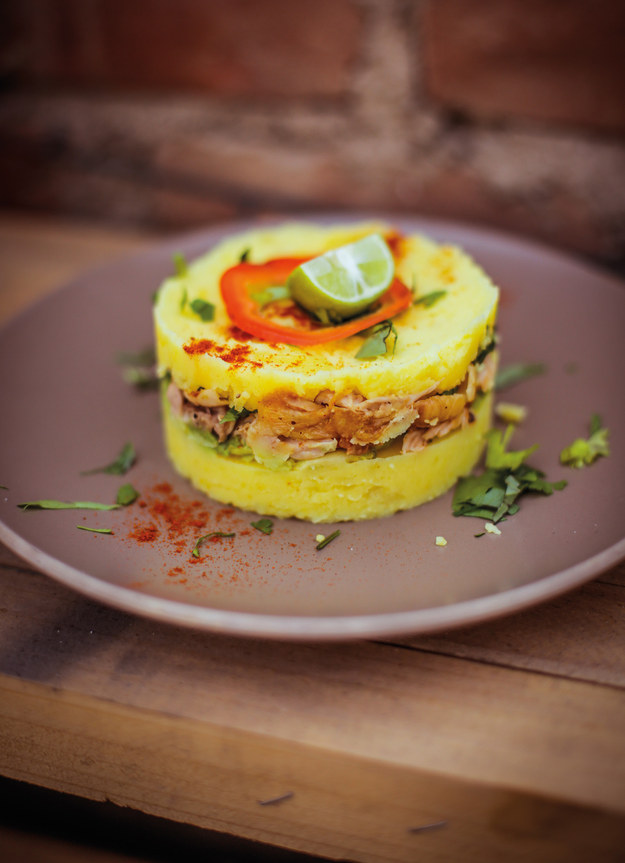 13. And this causa criolla (chicken, potato, and vegetable torte) in Peru: