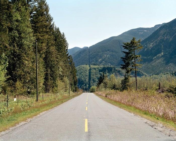 "The ""cutline"" demarcating the border, seen near Cultus Lake, British Columbia."