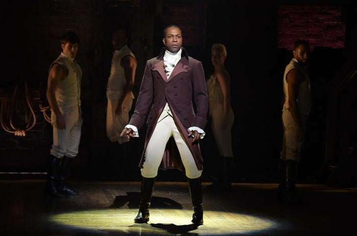 Leslie Odom Jr. and the cast of Hamilton perform the show's opening number at the 2016 Grammy Awards.