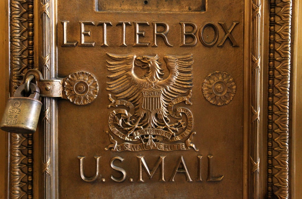 A letterbox in the Old Post Office.