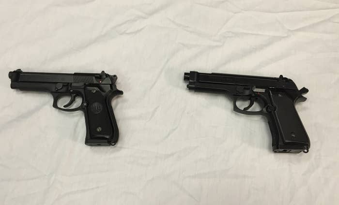 Baltimore police on Thursday displayed a BB gun, right, next to a semi-automatic handgun, left, to show how similar the models look.
