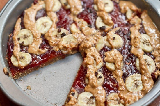 Peanut Butter, Banana, and Jam Breakfast Pizza