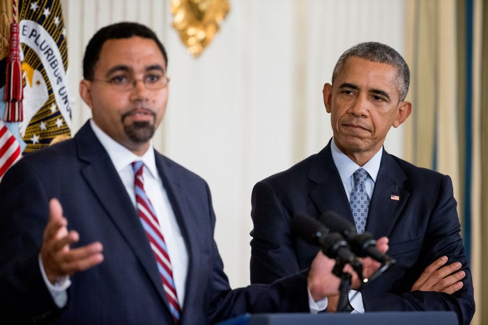 Acting Education Secretary John King Jr. and President Barack Obama