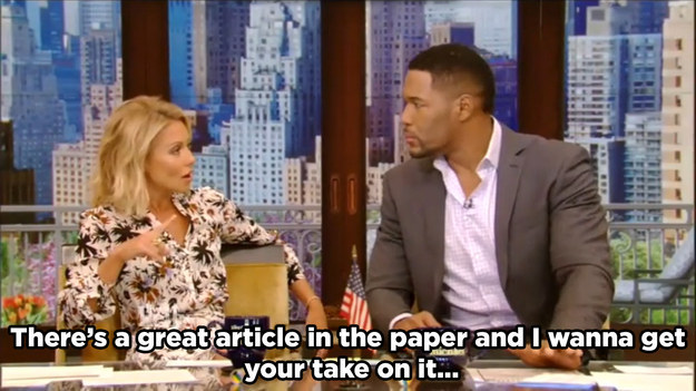 Kelly tells Michael that she wants his opinion on some recent news that she read...