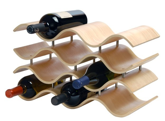 This beautiful wood rack for the mom who loves wine.