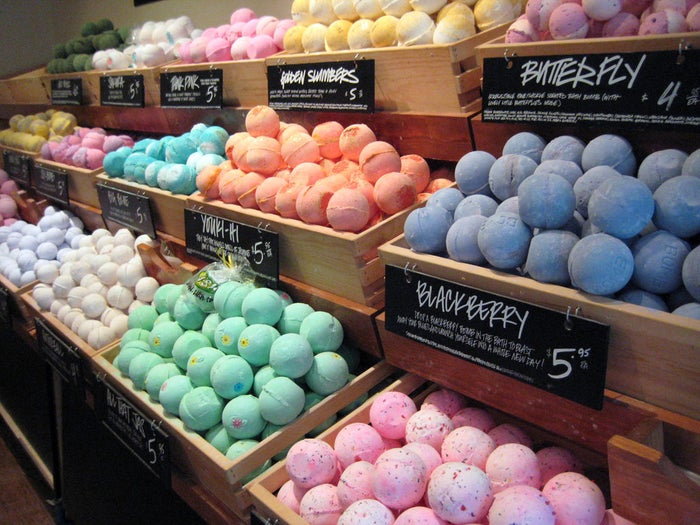 Lush is a store that sells fancy homemade cosmetics, including these bath bombs that you can drop in the bath to make it all fizzy and fancy.