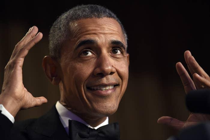 President Obama speaks at the annual White House Correspondents' Association dinner Saturday.