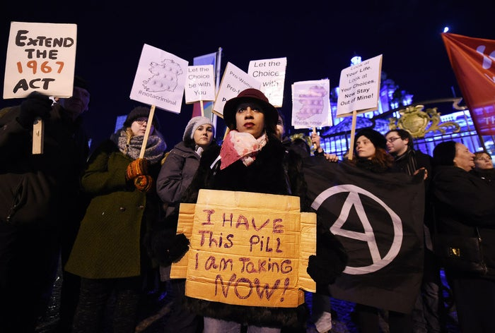 Pro–abortion rights activists rally outside City Hall on 15 January 2016 in Belfast, Northern Ireland.