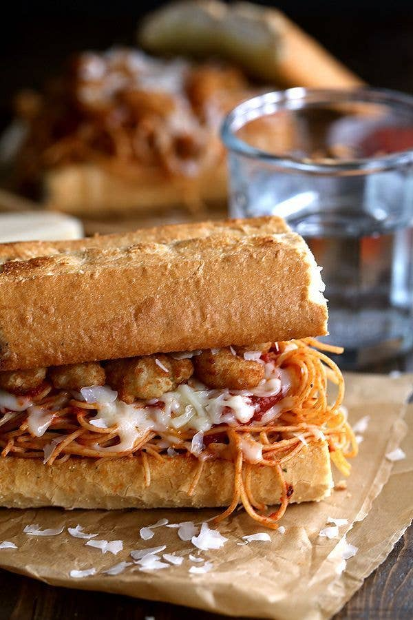 Spaghetti and sandwiches, a match made in carb heaven. Here's the recipe.