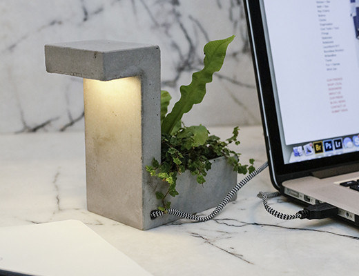 Lighten up your space with a combination desk lamp and planter.
