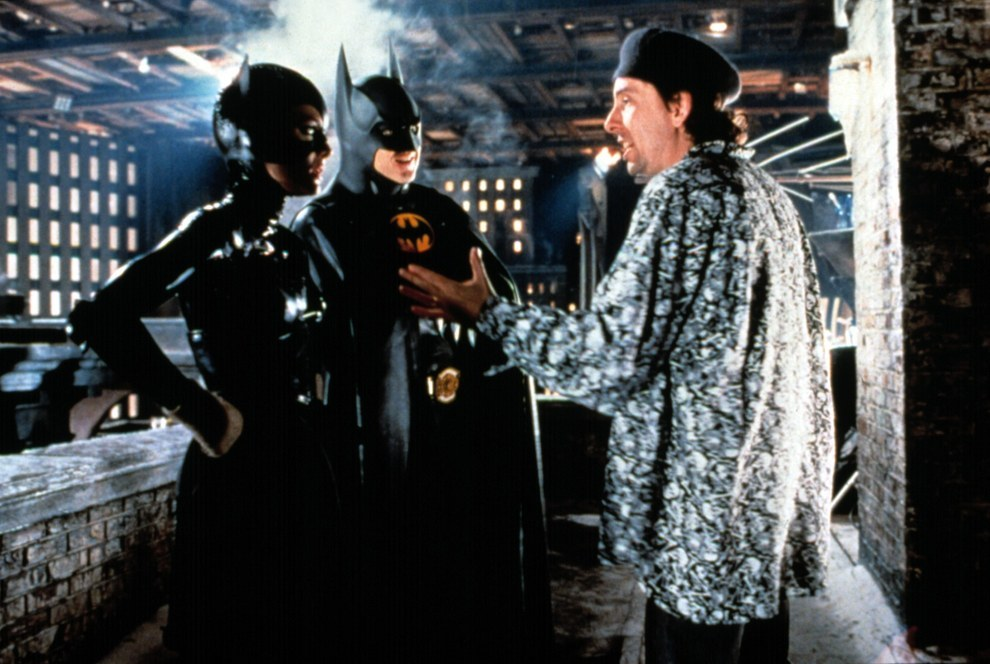 Michelle Pfeiffer, Michael Keaton y el director Tim Burton, Batman Returns.