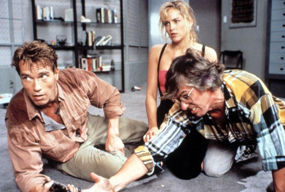 Arnold Schwarzenegger, Sharon Stone y el director Paul Verhoeven, Total Recall.