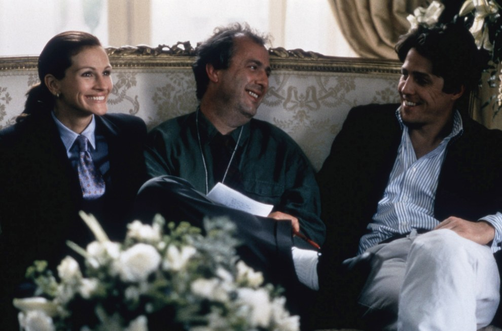 Julia Roberts, el director Roger Michell y Hugh Grant, Notting Hill.