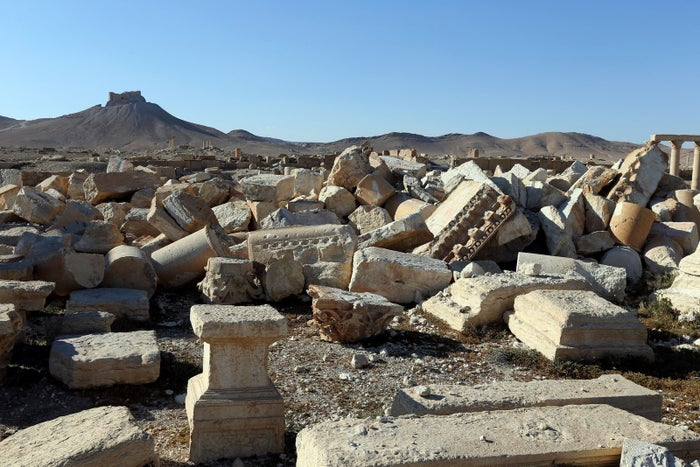 A view of the remains of Baalshmin temple, which was destroyed by ISIS jihadis.