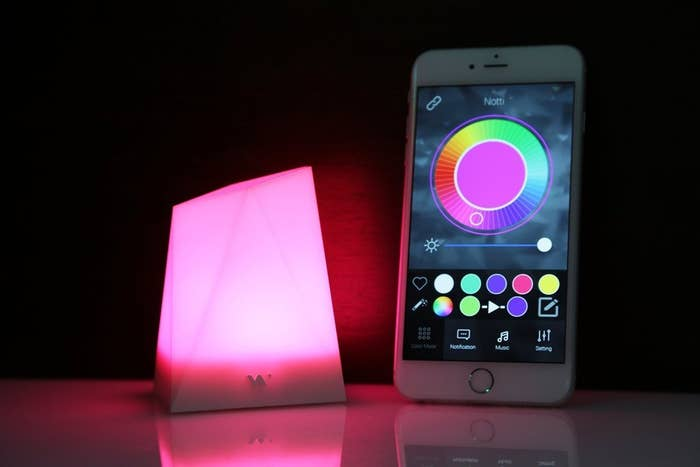 "Most promising review:""The notti definitely does the job. I keep this on my home office desk so I don't always have to check my phone to know what's going on. The light is bright and colorful. It can work as a notification light, night light, set the alarm and use it for a wake up light and set it to change to the music.""—OffDawall-TechGet it here."