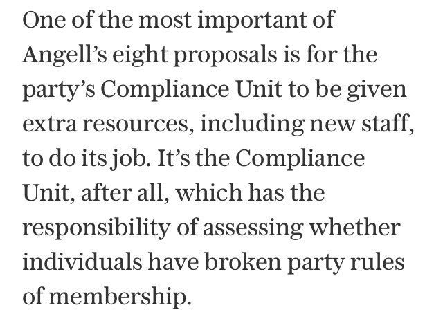 Former Labour MP Tom Harris in a piece on the issue of antisemitism to support the calls for 'extra resources, including new staff' for the party's compliance unit. At the end of February, shadow chancellor John McDonnell came under fire for saying, 'My view is I'd like to scrap the compliance unit altogether'.