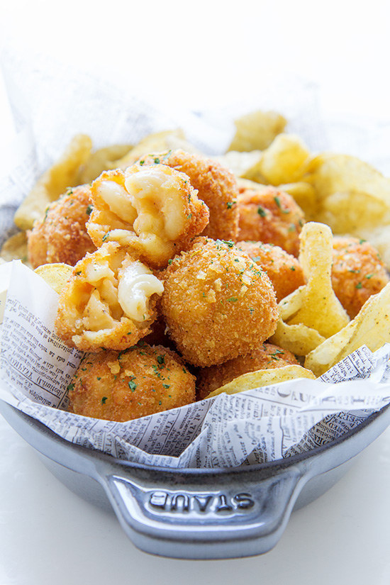 Fried Mac-and-Cheese Balls with a Potato Chip Coating