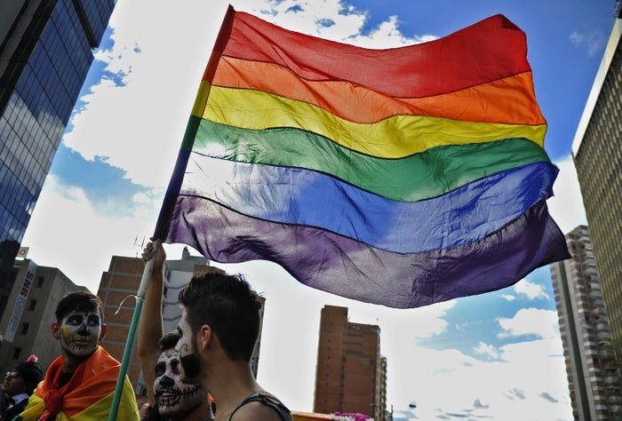 Revelers flutter a rainbow flag during the Gay Pride Parade in Bogota 2015