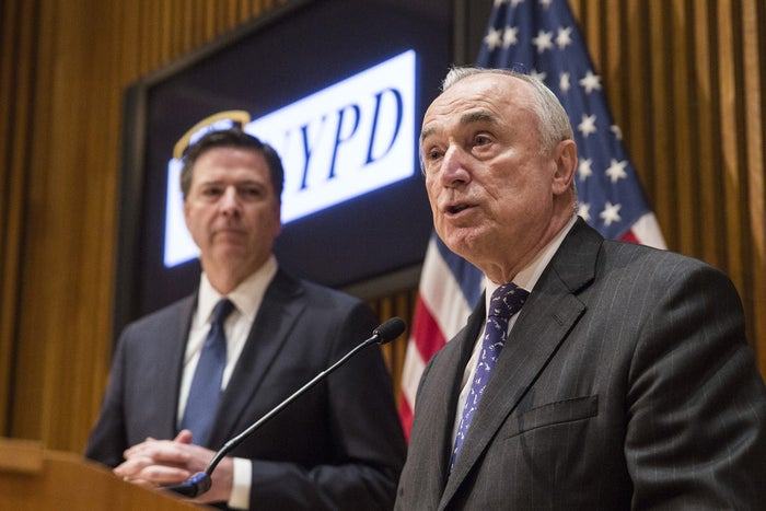 NYPD Commissioner Bill Bratton and FBI Director James Comey