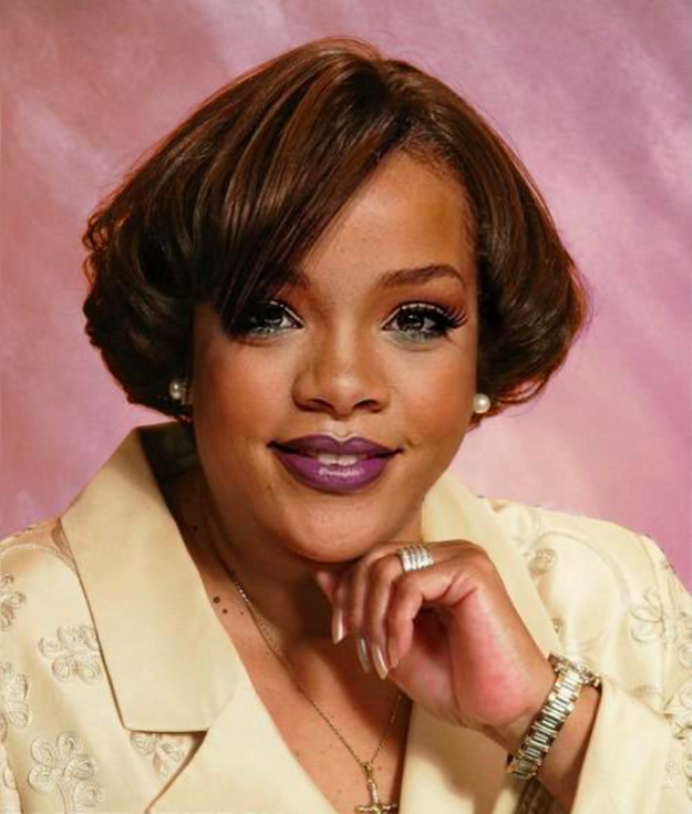 Let's face it - Glamour Shots in the '90s were THE THING. Everyone did it and chances are they probably looked extremely cheesy like this fake one of RiRi that NEVER gets old:
