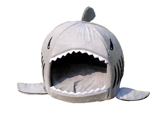 This shark bed that you will want to crawl inside of with your cat.
