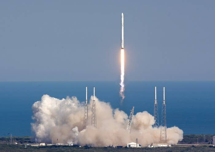 The SpaceX Falcon 9 rocket lifts off in Cape Canaveral, Florida, on Friday.