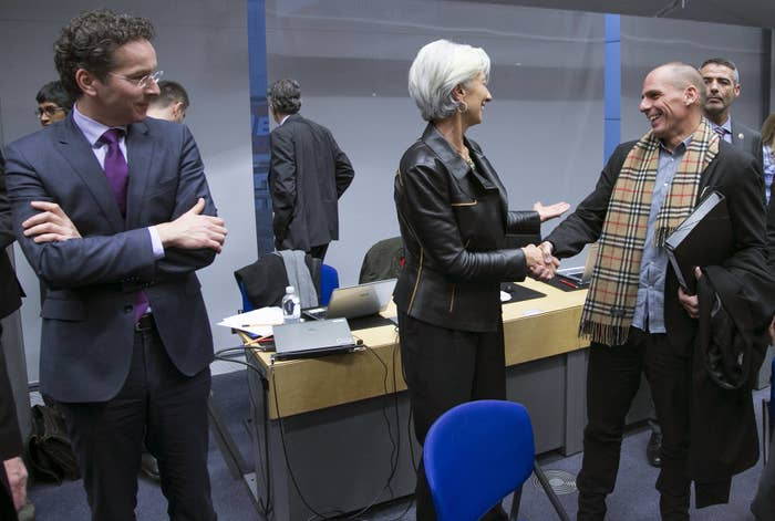 """""""This was at the beginning. I believe it was the first meeting with Christine Lagarde. It went brilliantly well. If you want, this is the calm before the storm... With this gentleman here [he points to Jeroen Dijsselbloem, president of the Eurogroup of finance ministers] it was never good... This guy doesn't agree with me. He doesn't like what he is seeing. Christine agreed with me."""" It was Brussels in early February, and it was """"bloody cold"""". Varoufakis never thought the scarf would become the big issue that it did. Not much seems to have changed in Greece's relationship with its creditors and European friends since he resigned from government nine months ago.""""The Greek people feel like small mice while elephants are tusking and fighting one another.""""He still thinks the infighting and different personalities should have been used to Greece's advantage: """"The threat of the whole thing crashing is the only language they understand."""""""
