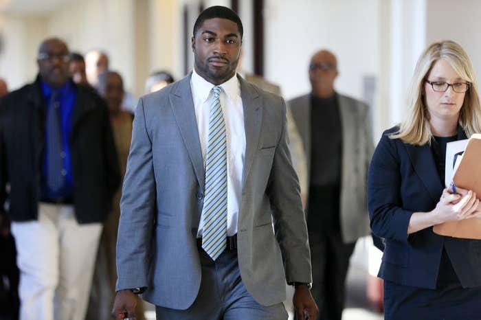 Cory Batey, center, arrives in court on Nov. 3, 2014, in Nashville.