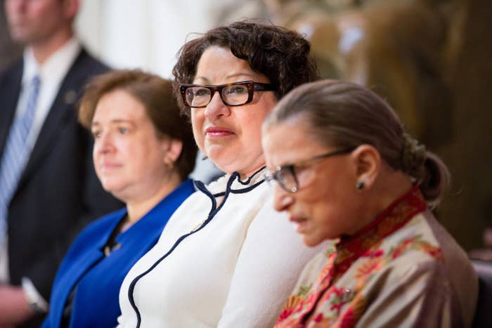U.S. Supreme Court justices Elena Kagan, Sonia Sotomayor and Ruth Bader Ginsburg in March 2015.